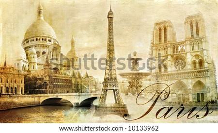 old beautiful Paris - artistic clip-art from my vintage series - stock photo