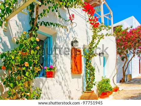 Old beautiful traditional house in Chora the capital of Amorgos island in Greece - stock photo