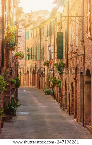 Old beautiful Tuscan streets in the Italian town - stock photo