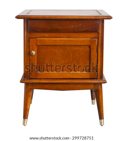 Old bedside table isolated, with clipping path.