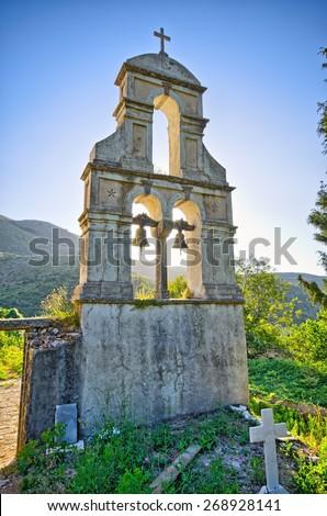 Old belfry on Corfu island - Greece - stock photo