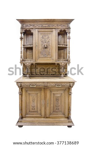 Old Belgian kitchen sideboard of the end of 19th century. Isolated path on the white background.