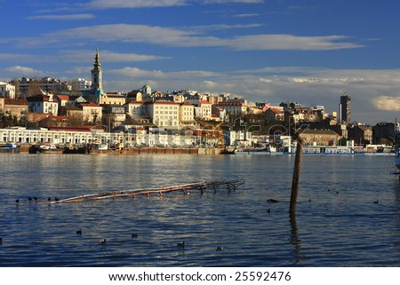 Old Belgrade from the river Sava - stock photo