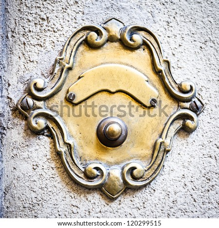 old bell button at a villa in rome - stock photo