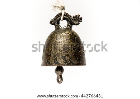 old bell of temple isolated on white - stock photo