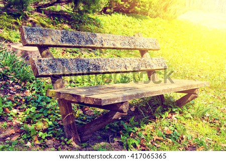 Old bench in the park at summer. Vintage retro colors picture. - stock photo