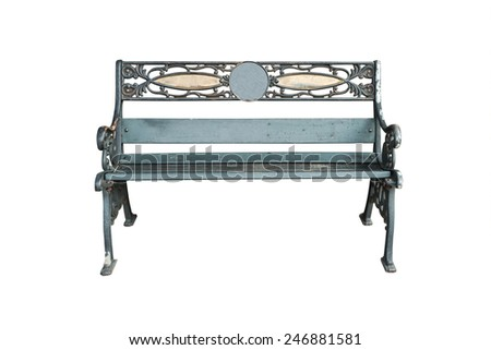 Old bench isolated on white background. - stock photo