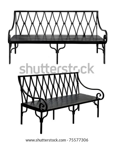 Old bench isolated on white background. Set - stock photo