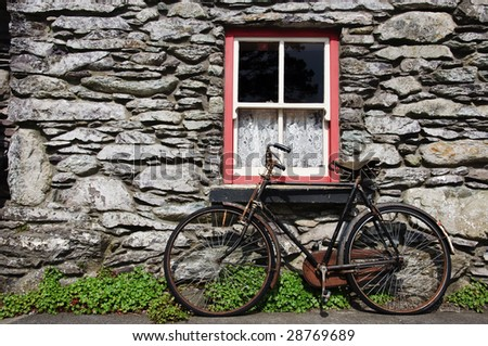 Old Bicycle By Rural Cottage Wall In Ireland Irish Countryside Home Stone