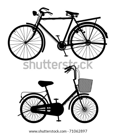 Old Bicycle Detail - stock photo