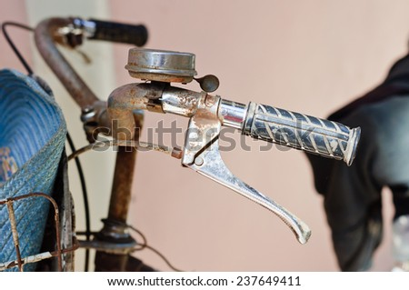 Old bicycle handlebars - stock photo