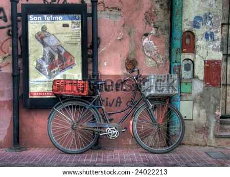 Old Bicycle in the neighborhood  of San Telmo, in Buenos Aires, Argentina.  This are of the city is a popular tourist destination.
