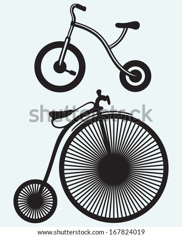 Old bicycle isolated on blue background. Raster version - stock photo