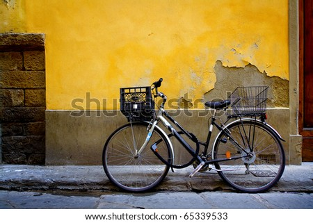 Old bicycle parked in front of a rustic cottage