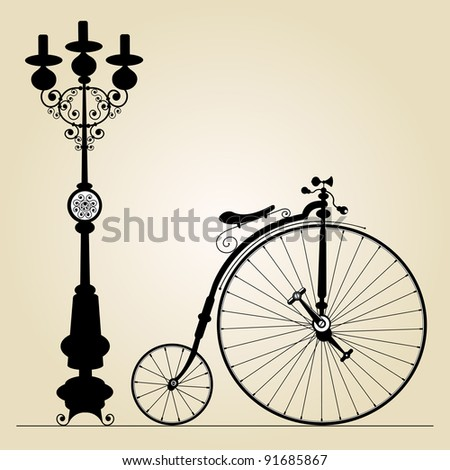 old bicycle template with space for your text, vector version also available in my portfolio - stock photo