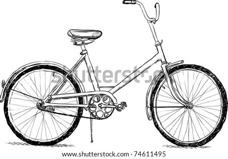 Old bicycle - the simple illustration - stock photo