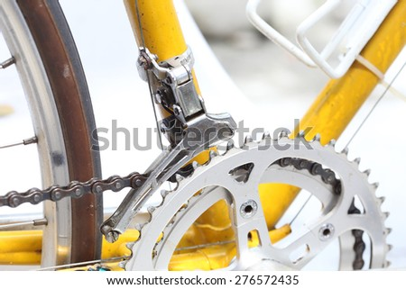 Old bicycle with gears - stock photo