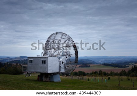 Old big army radar satellite (wired dish), actually used for scientific purposes - observing of Sun. - stock photo