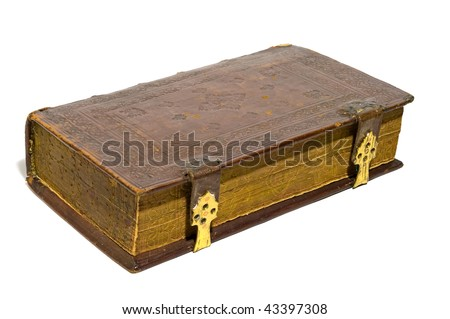 Old big book isolated over white with gold fasteners. Leather hard cover. Close up - stock photo