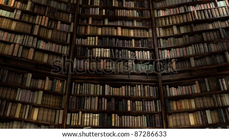 Old Big Library with many shelfs - stock photo
