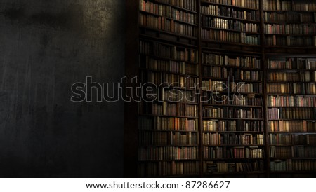 Old Big Library with staircase behind the concrete wall - stock photo