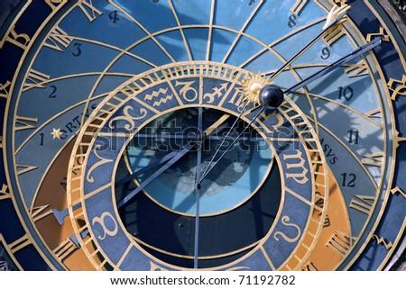 old big steel Prague astronomical clock - stock photo