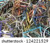 Old bikes in a heap colorful junkyard Iron, rust and colors in combination damaged bicycle, bicycles - stock photo