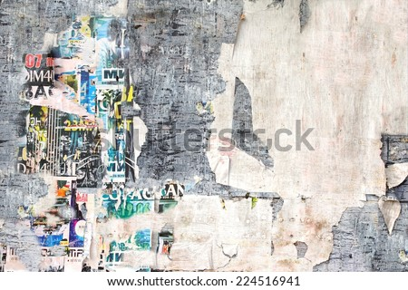 Old Billboard with Torn Posters. Background and Texture for text or image - stock photo