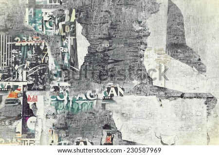 Old Billboard with Torn Posters. Background  for text or image in Instagram style. - stock photo