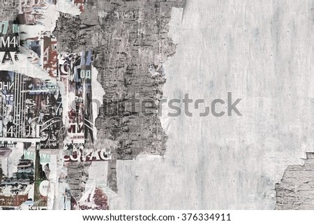 Old Billboard With Torn White Paper Posters Texture  Or Studio Backdrop Or Horizontal Background Isolated - stock photo