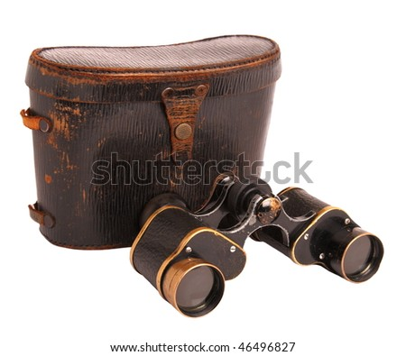 Old binoculars and leather case isolated on white - stock photo