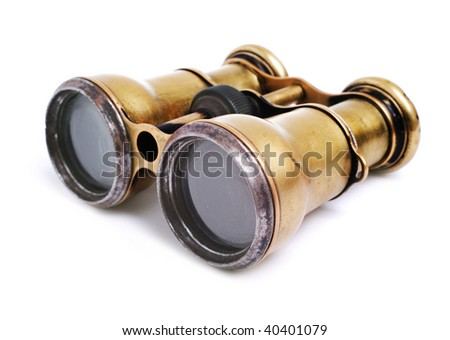 Old binoculars on white background - stock photo