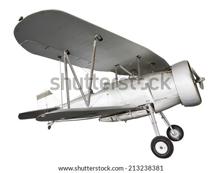Old biplane isolated.  - stock photo