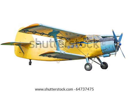 Old biplane isolated on white