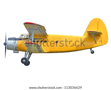 Old biplane isolated on white background - stock photo