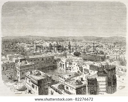 Old bird eye view of Jerusalem. Created by Therond after photo of unknown author, published on Le Tour du Monde, Paris, 1860 - stock photo