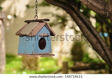 old bird house - stock photo