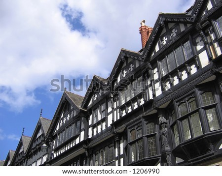 Old Black and White Buildings in Chester England - stock photo