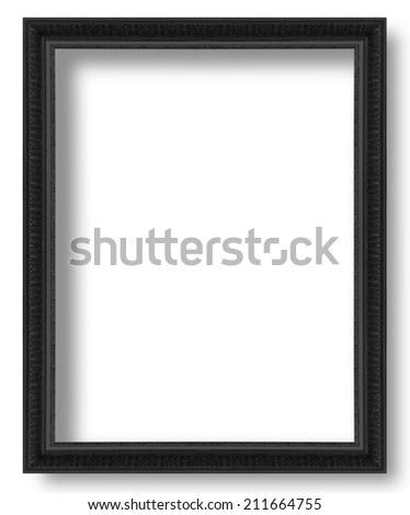 Old black antique picture frames isolated on white background. - stock photo