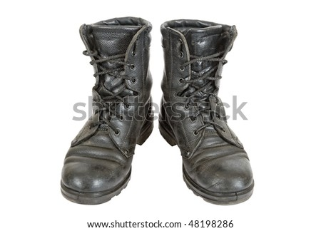 Old black army boots