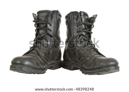 Old black army boots - stock photo