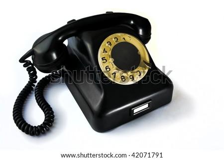 Old black bakelite phone - stock photo