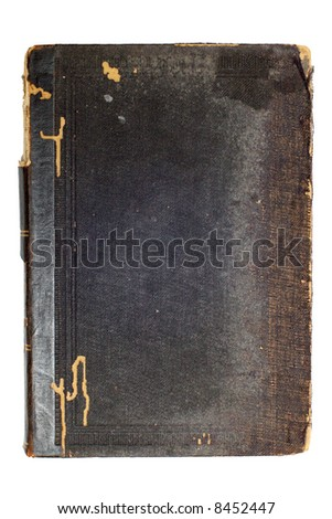 Old black book cover isolated on white