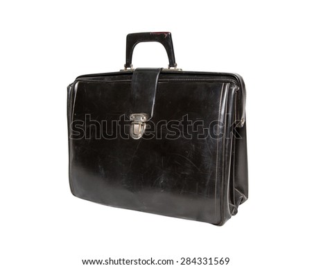 Old black briefcase on a white background. side view, isolated