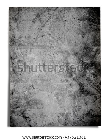Old black grunge paper, isolated on white background - stock photo