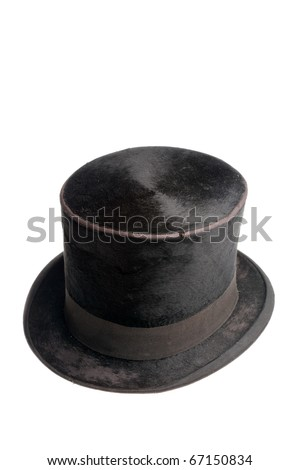 Old black high hat isolated on white background - stock photo