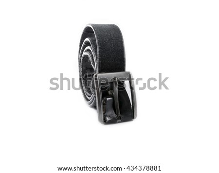 old black leather belt with buckle on white background - stock photo