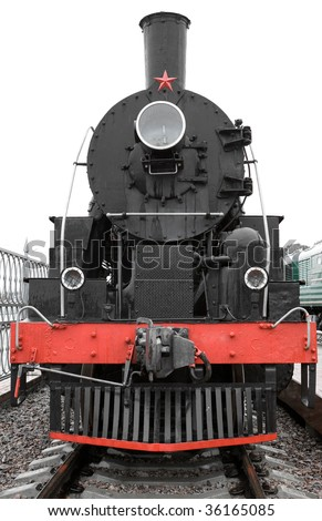 Old black locomotive front side - stock photo