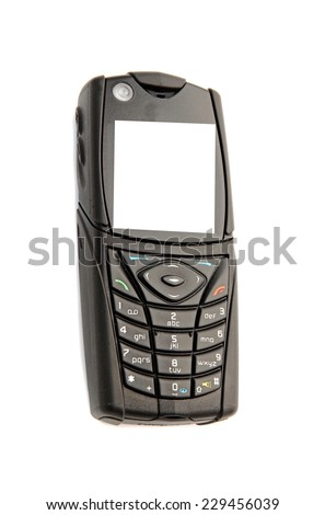 Old black mobile isolated on a white background - stock photo