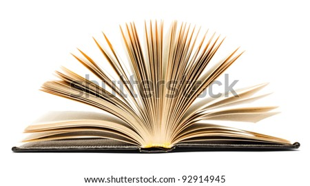 Old black open book isolated on white background